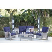 4 Piece Lakewood Ranch Steel Woven Wicker Patio Furniture Conversation Set (88590GBLTE)