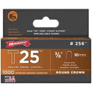 "Arrow Fastener 256 T25 Round Crown Staples, 3/8""/10mm; 1,000 Pk"