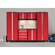 NewAge Products Bold 3.0 Series, 7-Piece Garage Cabinet Set, Bamboo Worktop, Red (50250)