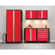 NewAge Products Pro 3.0 Series 6-Piece Mobile Garage Cabinet Set, Bamboo Worktop, Red ( 52348)