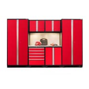NewAge Products Pro 3.0 Series  7-Piece Garage Cabinet Set, Stainless Steel Worktop, Red (52253)