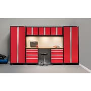 NewAge Products Bold 3.0 Series, 8-Piece Garage Cabinet Set, Bamboo Worktop, Red (50276)