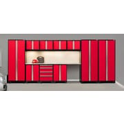 NewAge Products Pro 3.0 Series, 12-Piece Garage Cabinet Corner Set, Stainless Steel Worktop, Red (50285)