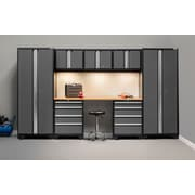 NewAge Products Bold 3.0 Series, 8-Piece Garage Cabinet Set, Bamboo Worktop, Gray (50076)