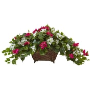 """Nearly Natural Bougainvillea in Metal Planter 17"""" Beauty White (6934-BW)"""