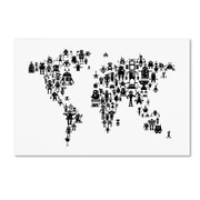 "Trademark Fine Art Michael Tompsett 'Robot Map of the World Black' 12"" x 19"" Canvas Stretched (190836019618)"