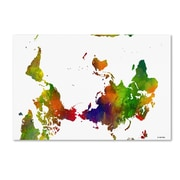 "Trademark Fine Art Marlene Watson 'Upside Down Map of the World Clr 1' 12"" x 19"" Canvas Stretched (190836200528)"