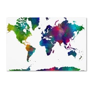 "Trademark Fine Art Marlene Watson 'World Map Clr-1' 14"" x 19"" Canvas Stretched (190836201082)"