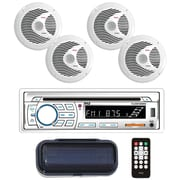 "Pyle Plcdbt85mrw Marine Single-din In-dash Cd Am/fm Receiver With Four 6.5"" Speakers, Splashproof Radio Cover & Bluetooth"