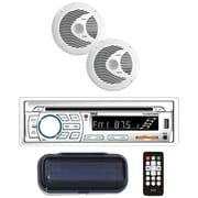 "Pyle Plcdbt65mrw Marine Single-din In-dash Cd Am/fm Receiver With Two 6.5"" Speakers, Splashproof Radio Cover & Bluetooth (white)"
