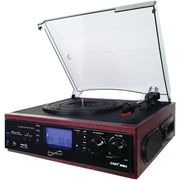 Supersonic Sc-8002tr Professional 3-speed Turntable System With Cassette Player, Built-in Speakers & Encoder