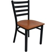 Advantage Ladder Back Restaurant Chair - Cherry Wood Seat (RCLB-BFCW-2)
