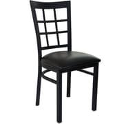 Advantage Window Pane Back Restaurant Chair - Black Padded (RCWPB-BFBV-2)