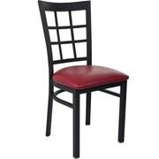 Advantage Window Pane Back Restaurant Chair - Burgundy Padded (RCWPB-BFRV-2)