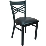 Advantage Cross Back Restaurant Chair - Black Padded (RCXB-BFBV-2)