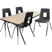 """Advantage 24"""" x 48"""" Maple/Black Activity Table with 4 Black 14"""" Student Stack Chairs (1AT2448MB4BLK14)"""