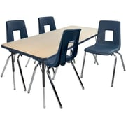 """Advantage 24"""" x 48"""" Maple/Navy Activity Table with 4 Navy 18"""" Student Stack Chairs (AT2448MN4NAVY18)"""