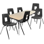 "Advantage 30"" x 60"" Maple/Black Activity Table with 6 Black 16"" Student Stack Chairs (1AT3060MB6BLK16)"