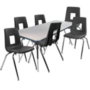 "Advantage 30"" x 60"" Gray/Navy Activity Table with 6 Black 14"" Student Stack Chairs (1AT3060GN6BLK14)"