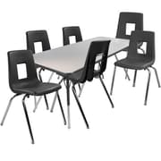 "Advantage 30"" x 60"" Gray/Black Activity Table with 6 Black 12"" Student Stack Chairs (1AT3060GB6BLK12)"