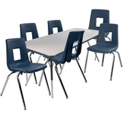 """Advantage 30"""" x 60"""" Gray/Navy Activity Table with 6 Navy 18"""" Student Stack Chairs (AT3060GN6NAVY18)"""