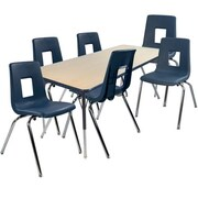"Advantage 30"" x 60"" Maple/Navy Activity Table with 6 Navy 18"" Student Stack Chairs (AT3060MN6NAVY18)"