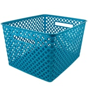 Romanoff Woven Basket, Large, Turquoise, Pack of 12 (ROM74208)