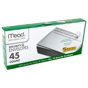 "Mead Press It Seal It NO10 Security Envelopes, 9.63"" x 4.25"", White, 45 per pk, 12 pks per bundle, total 540 (MEA75026)"
