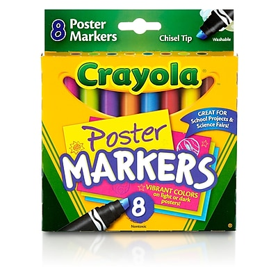 Crayola 8ct Poster Markers, Assorted. Sold as a set of 6, each box has 8 colors for a total of 48 (BIN588173) 23976852