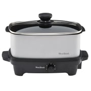 West Bend 5 qt Oblong Slow Cooker with Tote, Chrome/Black (84915) by