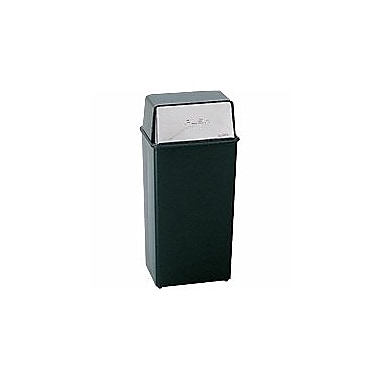 Safco® Steel Push Door Receptacles, Black/Chrome