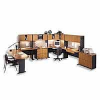 Bush Business Cubix 60W Desk, Natural Cherry/Slate, Installed