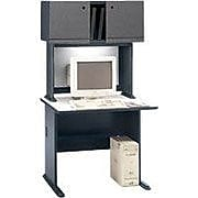Bush Business Cubix 36W Desk, Slate/White Spectrum, Installed