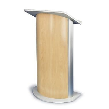 Amplivox Lectern, Curved C-Panel, Maple-Satin Anodized Aluminum