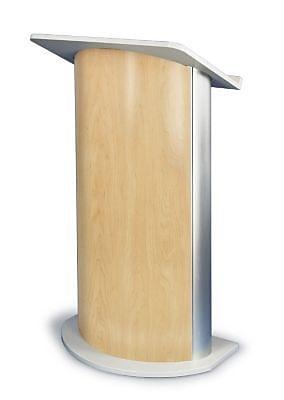 Amplivox Lectern, Curved C-Panel, Maple-Satin Anodized Aluminum