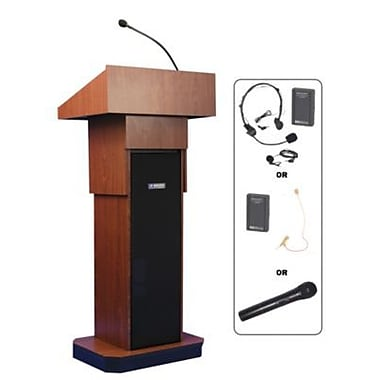 Amplivox Lectern, Adjustable column Wireless sound Lectern, Mahogany