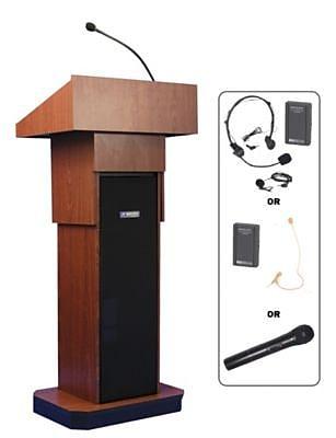 Amplivox Lectern, Adjustable column Wireless sound Lectern, Mahogany