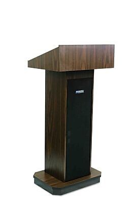 Amplivox Lectern, Non-Sound, Full-Height, Column, Walnut