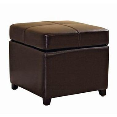 Baxton Studio Pandora Bi-cast Leather Storage Cube Ottoman, Dark Brown
