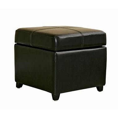 Baxton Studio Pandora Bycast Leather Storage Cube Ottomans