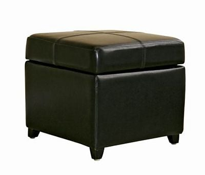 Baxton Studio Pandora Bi-cast Leather Storage Cube Ottoman, Black