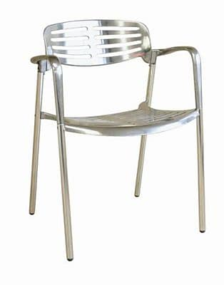 Baxton Studio Ethan Aluminum Accent Chair, Silver (8118WI)