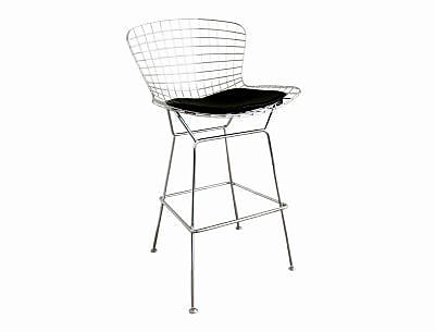 Baxton Studio Bertoia Wire Bar Stool, Silver