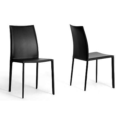 Baxton Studio Rockford Leather Dining Chair, Black, 2/Set