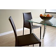 Baxton Studio Rockford Leather Dining Chair, Brown, 2/Set