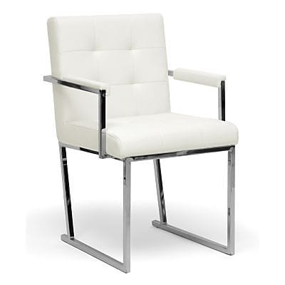 Baxton Studio Collins Leather Accent Chair, Ivory (ALC-1128 White)