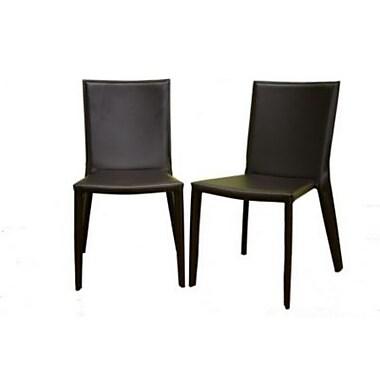 Baxton Studio Semele Leather Dining Chair, Dark Brown