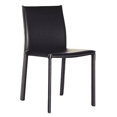 Baxton Studio Crawford Leather Dining Chair, Black