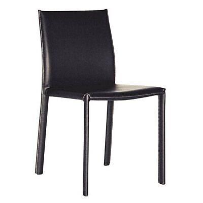 Baxton Studio Crawford Leather Dining Chair, Black
