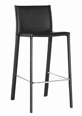 Baxton Studio Crawford Leather Low Back Counter Bar Stool, Black, 2/Set